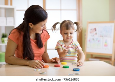 Mom with creative kid having fun time together