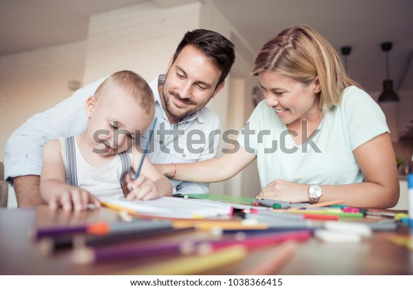 Mom Dad Drawing Their Son They Stock Photo Edit Now 1038366415