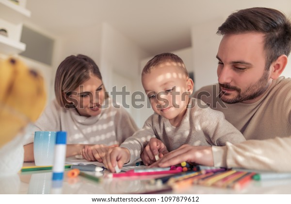 Mom Dad Drawing Their Sonthey Having Stock Photo Edit Now 1097879612