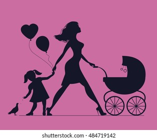 Mom with daughter and baby in baby carriage. Little girl feeds birds. Mother of many children. Beautiful fashionable mother
