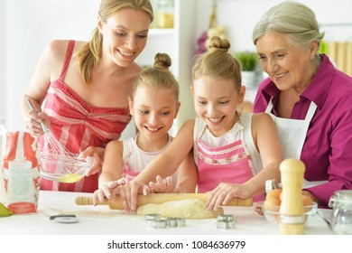 Mom and daughter cook