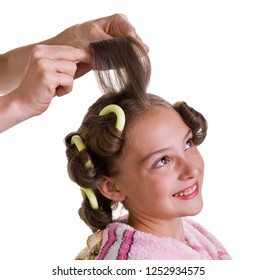 Mom daughter does hair. Hairstyle. Hair care. Fashion. Image on a white background.