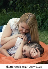 Mom and daughter hurt her comfort outdoors