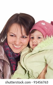 mom with daughter in outerwear on white