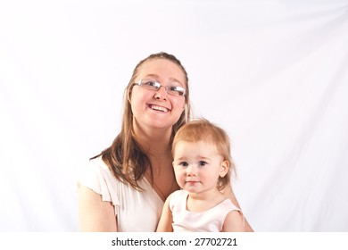 mom and Daughter portrait on white background