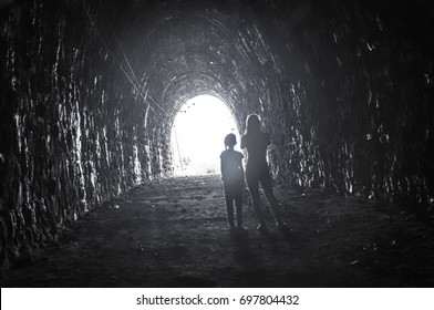 Mom and daughter in the tunnel of Circum-Baikal Railway