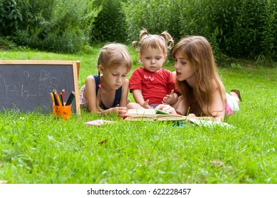 Mom and daughters get ready for school and have fun in nature