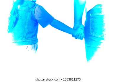 Mom and daugther hand holding abstract background