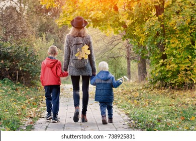 Mom and her two sons are walking in the autumn forest. View from the back