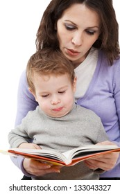 Mom reading a book for son
