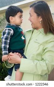 Mom smiling at son