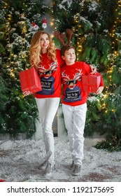 Mom Son Christmas Presents Stock Photo (Edit Now) 1192175680 ...
