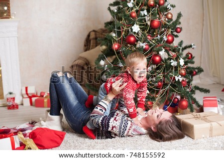 Mom Son Decorate Tree On New Stock Photo (Edit Now) 748155592 ...