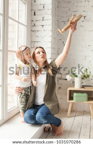 Mom And Son Have  In Livingroom | Mom Son Having Fun Home Mother Stock Photo Edit Now 1031070286
