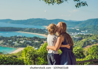 Mom and son on Karon View Point in sunny day. Phuket