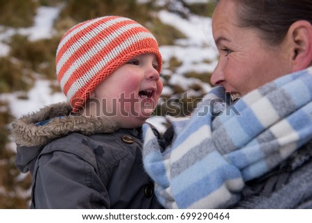 2c5fe4c5267 Mom Son On Winter Hike Wearing Stock Photo (Edit Now) 699290464 ...