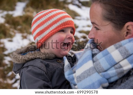 c23fddc85d9 Mom Son On Winter Hike Wearing Stock Photo (Edit Now) 699290578 ...
