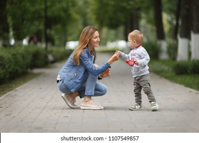 mom and son in the park