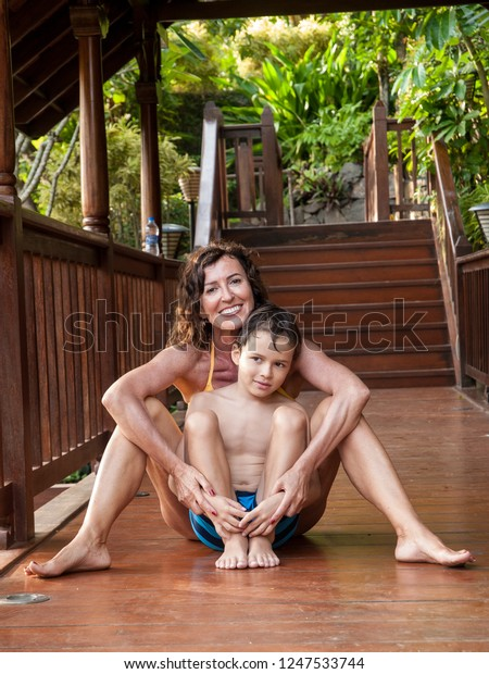 mom and son in a hotel