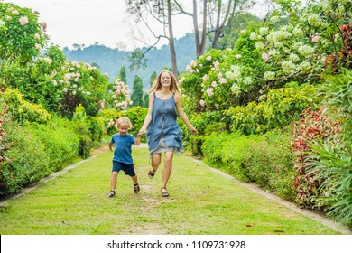 Mom and son are running around in the blooming garden. Happy family life style concept.