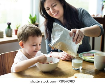 Mom Son Spend Time Holiday Eating Breakfast