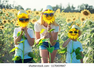 Mom and sons are walking around the field with sunflowers. A happy day.