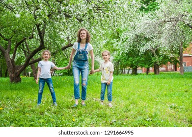 Mom and two little daughters walking in blooming apple blossom garden. Family concept
