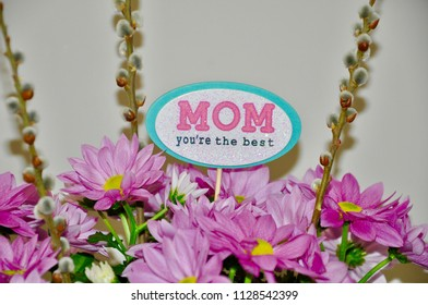 Mom you're the best sign in beautiful pink flowers