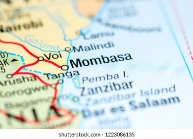 Mombasa. Africa on a map