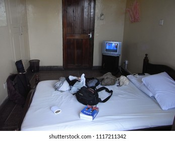 MOMBASA,  KENYA - CIRCA JUNE 2010  :  View inside the ROOM of CHEAP HOTEL.  The room is around 7 to 15US$ per night.