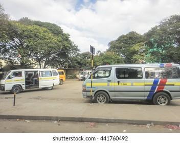 MOMBASA/KENYA - SEPTEMBER 06 2013: Mombasa matatu station. The road to Mombasa. Eastern Africa