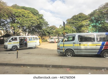 MOMBASA/KENYA - SEPTEMBER 06 2013: Mombasa matatu (minibus) station. The road to Mombasa. Eastern Africa