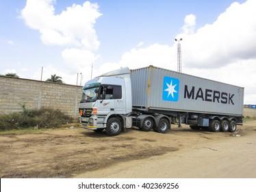 MOMBASA/KENYA - SEPTEMBER 06 2013: The road Mombasa-Nairobi. Maersk container truck