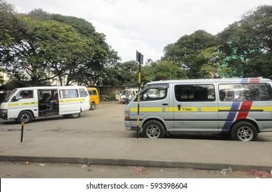 MOMBASA/KENYA - SEPTEMBER 6 2013: Mombasa-Garissa Road (B8 Road). Mombasa-Malindi highway - major highway in Kenya. View from the window of matatu. Eastern Africa