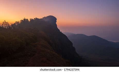 Moment before sunrise on the mountain peak in Northern part of Thailand