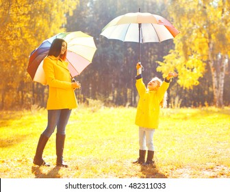 Moment of happiness! Happy family with umbrellas in sunny autumn rainy day, young mother and child in jacket outdoors enjoying rain over yellow leaves background