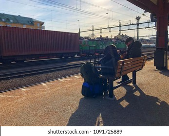 Moment of passenger with luggages waiting for train at Karlstad Train station , Karlstad Sweden 30 March 2018