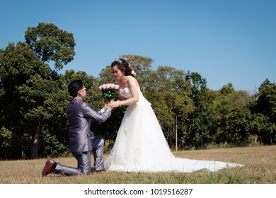 Moment of proposal in valentine day. Young couple fail in love