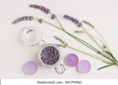 Moment of relaxation with fresh and dry lavender flowers and candles