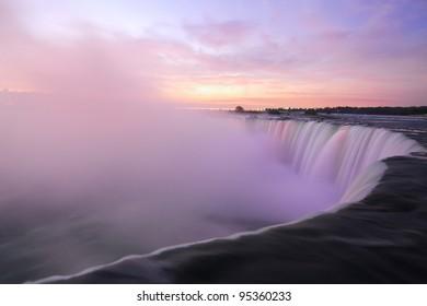 Moments before Sunrise at the Horseshoe Falls, Niagara Falls, Ontario, Canada