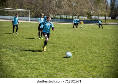 moments of the game 30.04.2017 championship on football among young men , Ukraine Herson region New Kakhovka 27-30,04 2017.