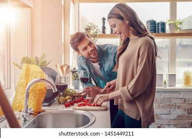 Moments of joy. Beautiful young couple cooking dinner while standing in the kitchen at home
