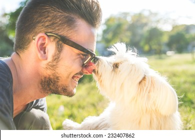moments of love between dog and his owner. concept about pets and animals
