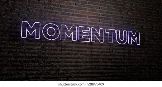 MOMENTUM -Realistic Neon Sign on Brick Wall background - 3D rendered royalty free stock image. Can be used for online banner ads and direct mailers.
