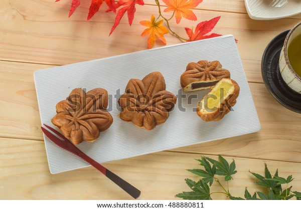 Momiji manju, Hiroshima's most popular souvenir, is a small, maple-leaf-shaped cake filled with mashed sweet bean paste