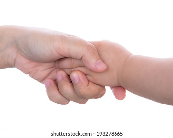 Mommy and her child hand isolated on white