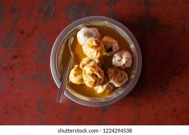 Momo steamed dumplings, a Tibetan traditional dish, as served in Nepal