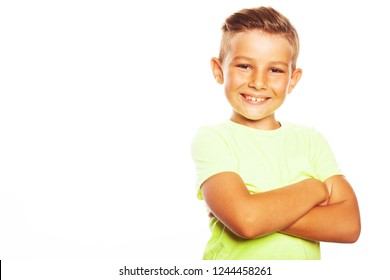 Mom's joy concept. Portrait of cute little boy in bright green T-shirt isolated on white background. Retro postcard, vintage poster style. Trendy haircut. Hands crossed. Close up. Copy-space