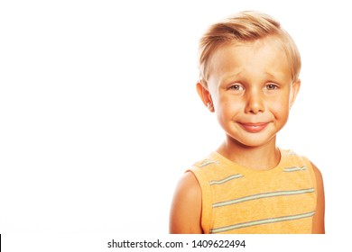 Mom's precious concept. Portrait of smiling cute little boy in orange sleeveless T-shirt isolated on white background. Retro postcard, vintage poster style. Close up. Copy-space. Studio shot