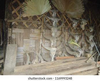 Mon Basti, Mon district, Nagaland. Konyak Naga tribal rural house of village.